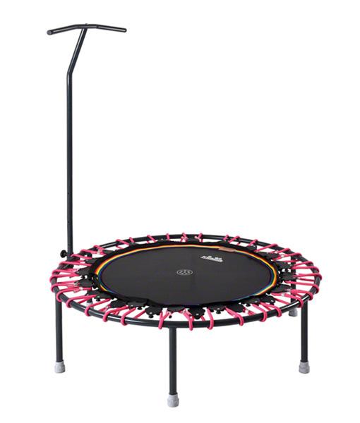 Trampoline mit Vario System, Trimilin jump mit Haltestange, Matte schwarz, Gummiseil neongelb