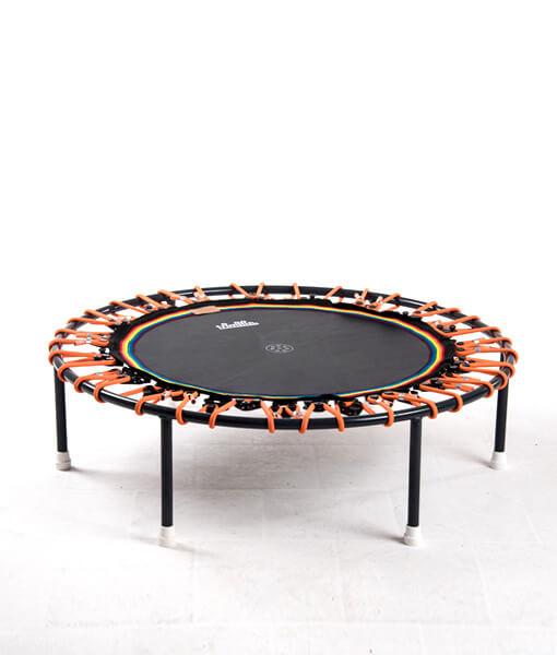 Minitrampolin Trimilin Vivo, schwarze Matte, Gummikabel orange